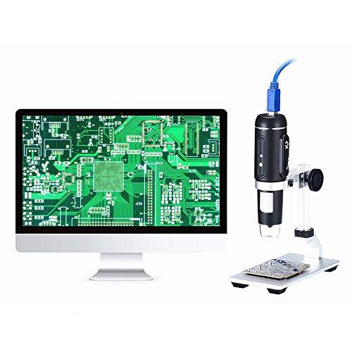 Kinder Anfängermikroskop, 1000 x Vergrößerung Endoskop 8 LED USB Digitales Mikroskop Mini Kamera Mikroskop mit faltbarem Ständer Echtem 5MP Sensor Handmikroskop Aluminium Alloy Holder
