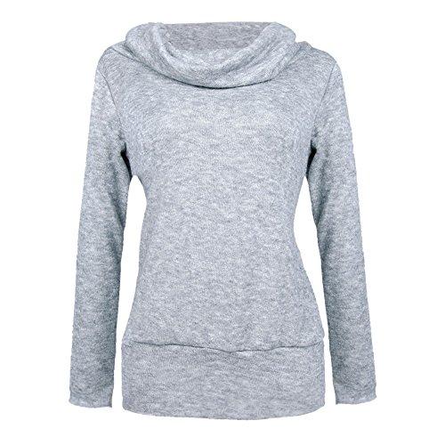 LAEMILIA Sweat-shirt Manches Longues Femme Epaule Nue Slim Vintage Sweater Pull-over Tops Longue Gris