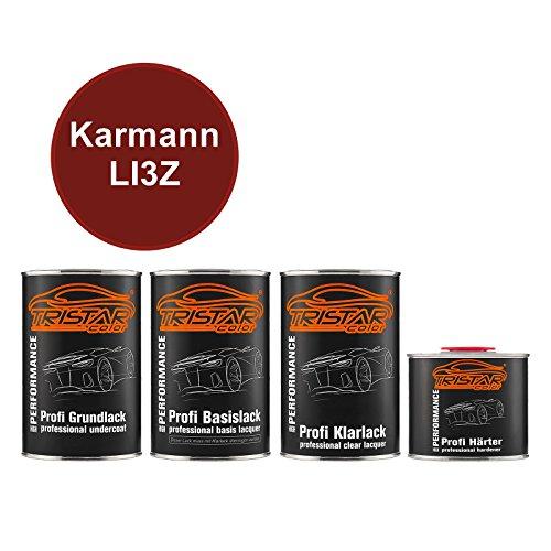 Preisvergleich Produktbild TRISTARcolor Autolack Set Dose spritzfertig Karmann LI3Z Vermelho Merlot Perl / Merlot Rot Perl Grundlack + Basislack + 2K Klarlack 3, 5L