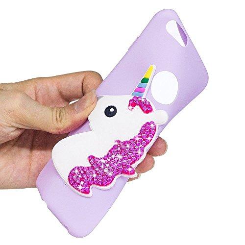 Solaxi iPhone 6 /6S Cover 3D Cartoon Unicorno Bling Glitter Diamante Brillante Lusso Sollievo Motif Guscio Morbido Sottile TPU Silicone Custodia Antiurto della Calotta Shockproof Anti-Scraches Skin Sh Viola