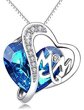 YFN Damen Halskette mit Sterling Silber Kristall Liebe Herz Anhänger Silberschmuck für Frauen