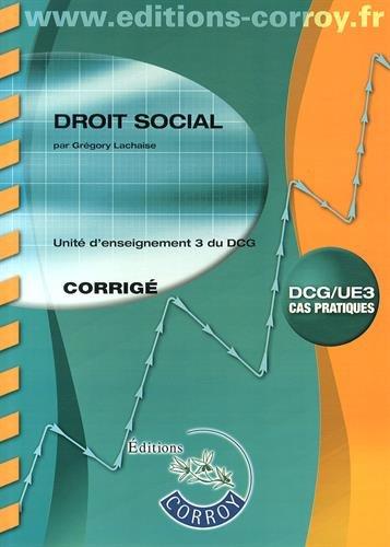 DSCG : Droit social, Corrigé, Unité d'enseignement 3 du DCG