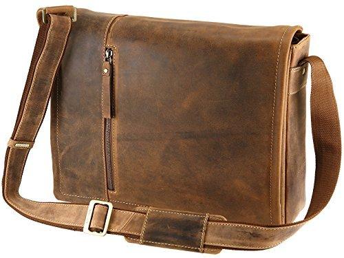 Buckle Flap Bag (Visconti Leder Messenger Tasche mit herausnehmbarer Laptop Tasche-Öl Tan (16072))