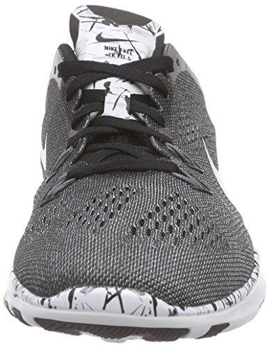 Nike Free 5.0 Tr Fit 5 Prt, Chaussures D'athlétisme Femme Gris - Grau (Schwarz/Weiß/Kühles Grau/Silber Metallic 019)