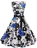 Gardenwed Damen 1950er Vintage Cocktailkleid Rockabilly Retro Schwingen Kleid Faltenrock White Blue Flower XS