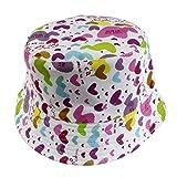 Cappello di protezione solare del bordo del cappello del secchio del pescatore del bambino del bambino del unisex-baby colorato Hillento, cuore viola e di rosa