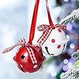 Naler 12 Stück Glöckchen Weihnachtsbaumschmuck Rot Weiß Schellen Glocke für Weihnachten Weihnachtsbaum Deko - 4 cm