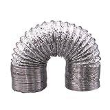 UKCOCO Conducto de ventilación de la secadora de aluminio, 1M Flex Air Tubo de admisión Ventilador de la ventilación Tubo de ventilación de escape para secadoras eléctricas de gas (Diámetro: 100mm)