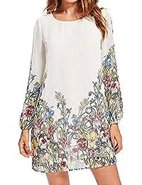 HOMEBABY❤ Chiffon Abito Manica Lungo Vestito Donna Taglie Forti Elegante  Vintage Magliette T shirt Camicia Corto Vestito Mini Dress Gonne… 835602f766d