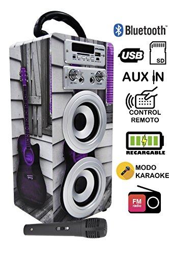 Karaoke Anlage Bluetooth - Kinder Karaoke Player - Mikrofon mit Lautsprecher Boxen Bluetooth Akku-Lautsprecherbox (USB-SD-Slot, AUX, UKW-Radio, Fernbedienung) Modell-3