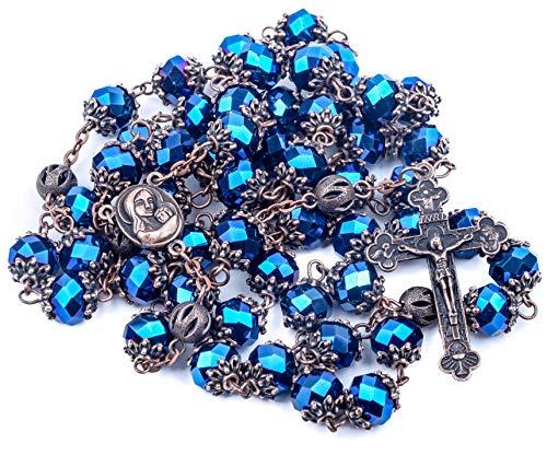 Nazareth Store Halskette Rosenkranz Our Father katholische Kristalle Dreieinigkeitskreuz-Kreuz, in Samtbeutel