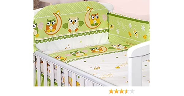 Owls Brown 6 Piece Baby Cot Bedding Set With 4 sided Bumper to fit 120x60 cm