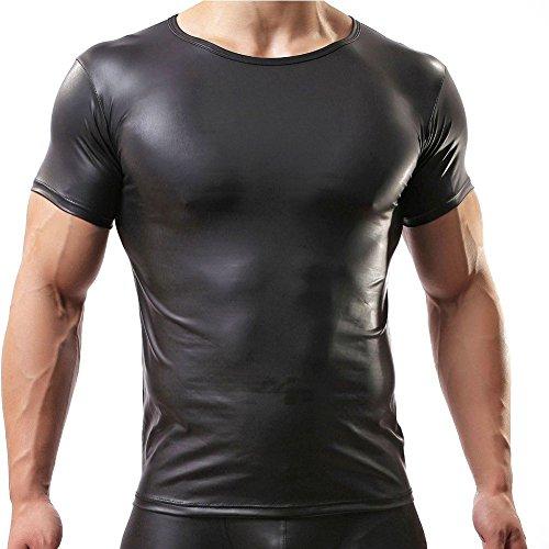Preisvergleich Produktbild iiniim Sexy Herren Lackleder T-Shirt Hemd Reizwäsche Kostüm Kurzarm Schwarz Medium
