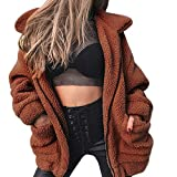 MEIbax Damen Revers Langarm Faux Für Mantel Winter Boyfriend Sexy Parka Mode Coat Plüschjacke Cardigan