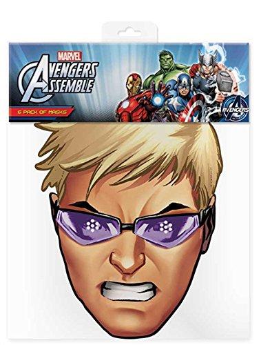 Hawkeye - Marvel Maske Papp Maske, aus hochwertigem Glanzkarton mit Augenlöchern, Gummiband - Grösse ca. 30x20 cm