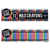 Stomping Ground Toys Pack of 72 Wax Crayons for Kids and Toddlers Perfect for Kids Party Bags - Free Wax Crayon Sharpener Included