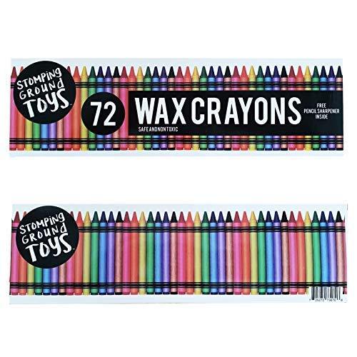 Stomping Ground Toys Set de 72 Ceras de Colores para Niños, Bolsitas de Fiesta Infantiles - Incluye Gratis Tajador para Lápices de Cera