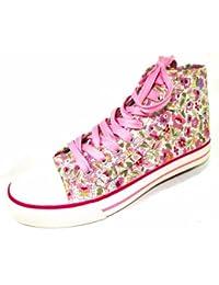 Indigo Mädchen Schuhe Gr.33-39 Canvas Trend High Sneaker 833-303 Beige-Multi (495) rosa