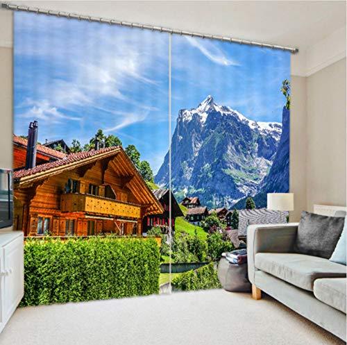 WKJHDFGB Hochebene Hütte Vorhänge des Drucken 3D Mit Bettwäsche Raum Wohnzimmer Oder Hotel Cortians Starke Sonnenschutz Fenstervorhänge,245X280Cm