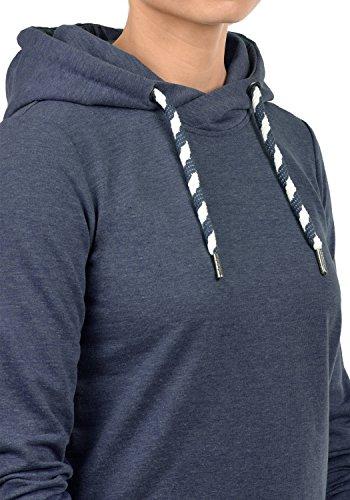 DESIRES Wandy Damen Kapuzenpullover Hoodie Sweatshirt mit Cross-Over Kragen und Kapuze aus hochwertiger Baumwollmischung Insignia Blue Melange (8991)