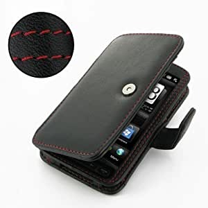 PDair B41 Black / Red Stitchings Leather Case for HTC HD2 Leo T8585