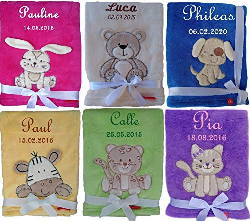 Kuschlige Babydecke SUPER FLAUSCHIG bestickt mit Namen und Datum