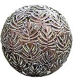Décoration, mobilier, statues de jardin - Sphère en métal avec motif de feuille de vigne - couleur: marron antique - environ 40 cm