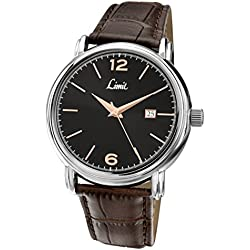Limit Men's Quartz Watch with Black Dial Analogue Display and Brown Polyurethane Strap 5653.01
