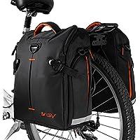 BV Bike Panniers Bags (Pair), Large Capacity, 14 L (each pannier), Black with Detachable Shoulder Straps and All Weather Rain Covers … (orange)