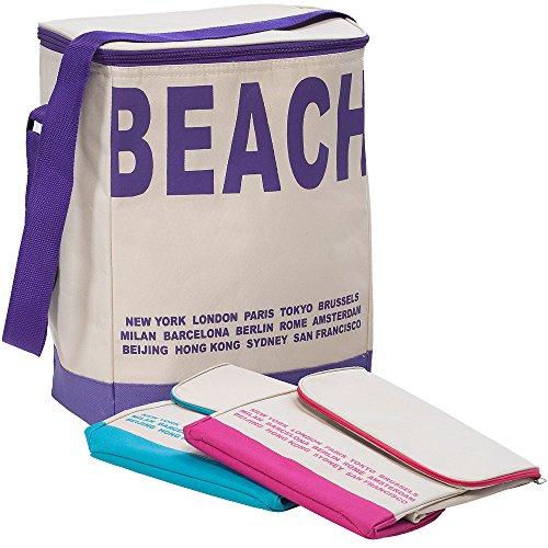 Kühltasche 20 Liter Kühlbox Isoliertasche Campingtasche Beachtasche - mit Schultergurt - schließbarer Deckel - fester Boden - geringes Eigengewicht - Lila - Farbwahl (Fester Tragegriff)