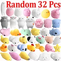Outee Squishy Cat Stress, 32 Pcs Stress Toys Mochi Squishy Mini Squeeze Stress Toys Mochi Animal Stress Toys Stress Relieving Squishy Cat Toy Random Squishy Kawaii Cat Mochi Squeeze Toys