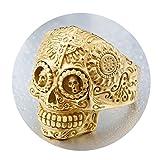 Beydodo Herren-Ringe Titan Gold Totenkopf Schäde Kreuz Vintage Punk Ring Gold Freundschaftsring Größe 62 (19.7)