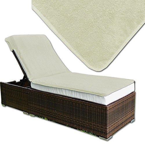 JEMIDI Frottee Schonbezug für Gartenliege oder Massage / Relaxing Liege Bezug Strandliege Liegenbezug Auflage Liege (Ecru