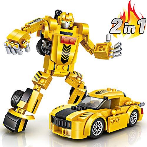 Robot Giocattolo Bambini, joylink Mattoncini Costruzioni Building Blocks Set Modello di robot di deformazione del blocco Creativo Assemblaggio Building Blocks Giocattoli Educativi per Bambini (Giallo)