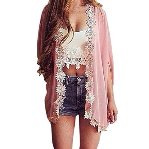 Transer ® Manteaux Femme,Mode Femmes Décontractée Ethnique Dentelle Fleur lâche Kimono Cardigan Tops Jacket Couvrez-vous Blouse Shirt Rose (S-XL) (L)