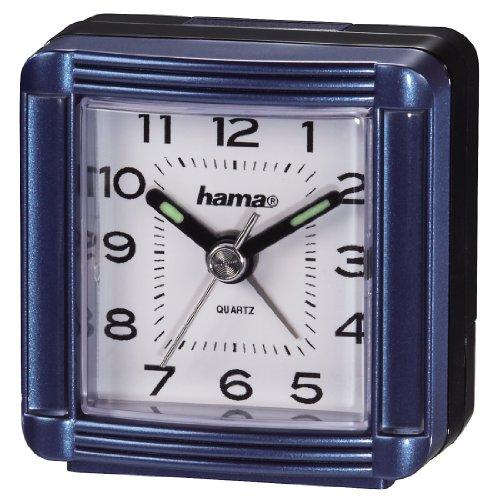 Hama Reise Wecker A30 (analoger Wecker, selbstleuchtender Minuten-und Stundenzeiger) blau
