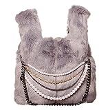 fc2988dd14 Mimi-Mua Borsa in pelliccia sintetica con perle e catene donna, borsa a mano