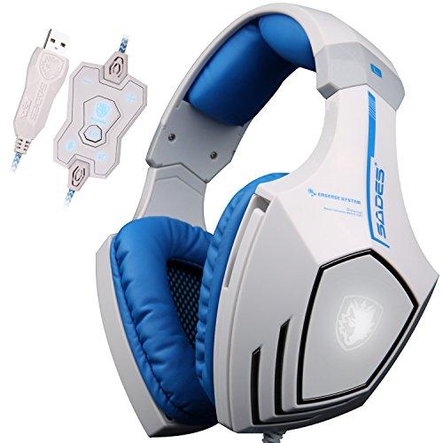 SADES A60 - Cuffie da Pro Gaming Headset USB con Suono Surround 7.1, Vibrazione, Microfono ad alta sensibilità, Deep Bass, Controllo del Volume, Luci a Led e Wolf Logo (Bianche)