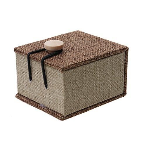 Schmuckkästchen - Schmuckschatulle - Holz Schmuckbox - Kaffee Farbe - mit Knopf Deko - Weihnachten, Geburtstag, Idee als Geschenk - Kaffee, 7 x 6 x 4,2 cm