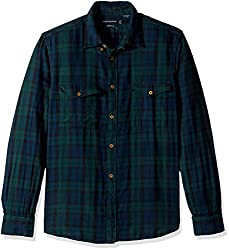 French Connection Mens Blackwatch Double Pocket Button Down Shirt, Black Watch Check, XL