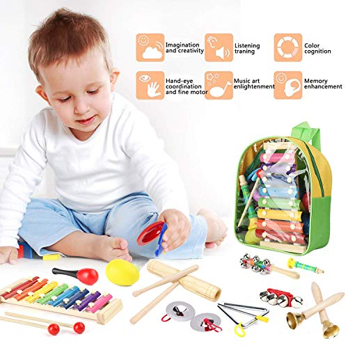 Kids Musical Instruments, Scoolr 24 Pcs Toddler Musical Toys Toddler Musical Instruments Baby Musical Percussion Instruments Toy Set Wooden Xylophone Glockenspiel Toy Rhythm Band Set with Backpack