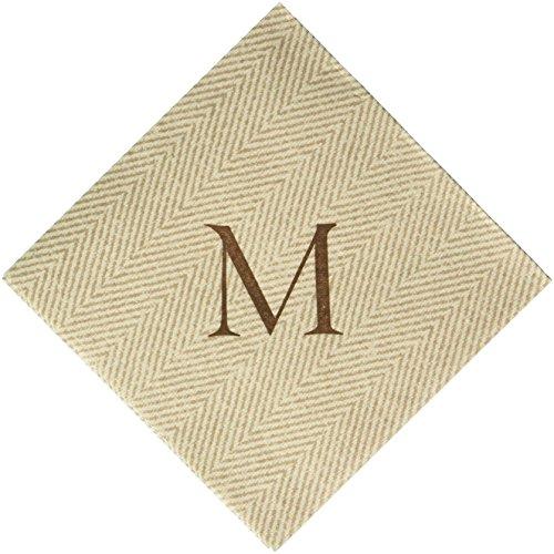 Caspari Monogram Cocktail-Servietten mit Initiale M, Fischgrätmuster 30 Stück