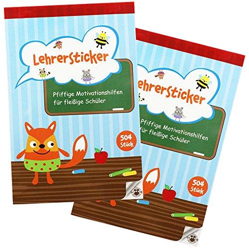 Preisvergleich Produktbild COM-FOUR® 2x Lehrer Stickerblock, Stickerbuch für Lehrer mit insgesamt 1008 Stickern zur Motivation Ihrer Schüler