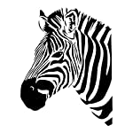 TOOGOO(R) 22.4*29.5 inch Zebra Head Wall Sticker for Living Room Personality DIY Decoration Removable PVC Home Decorate,Black