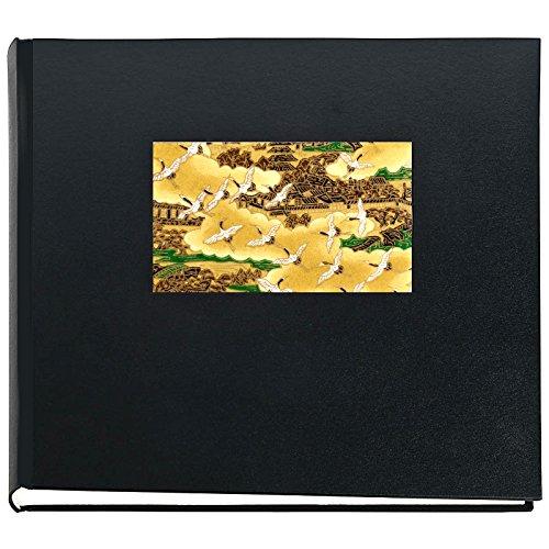Japan Fotoalbum MIYAKO Schwarz 50 seitiges Buchalbum mit Yuzen Japanpapier Malerei von einer alten...