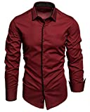Amaci&Sons Herren Slim Fit Hemd Bügelleicht Business Freizeit Shirt 5007 Bordeaux 3XL