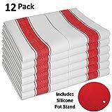 SMARTZ 12er-Set Geschirrtücher supersaugfähig - fusselfrei aus 100% Baumwolle 50 X 70 cm weiß mit roten Streifen und Aufhänger - Vintage Küchenhandtücher Gastronomiequalität