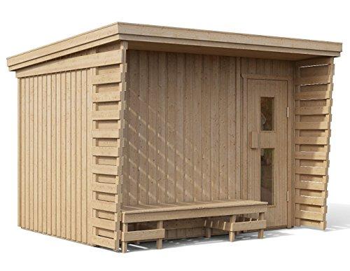 ISIDOR Premium Gartensauna Fides Elektro- Saunaofen Kaja mit 9 kW Heizleistung und externer Steuerung; 4,1m² großem Saunaraum inkl. Sauna-Innenausstattung auf insgesamt 6 m² Gebäudefläche