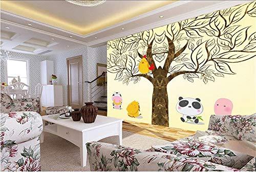 Muraon HD wandbild Benutzerdefinierte 3D Fototapete Kinderzimmer Wandbild Große Baum Huhn Pferd Malerei 3D Foto Sofa TV Hintergrund Vliestapete Wandbild