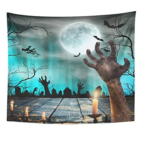 Tapisserie Polyester Stoff Print Home Decor Blaue Apokalypse Spooky Halloween alte Bäume Silhouetten und Zombie Hand Orange Wandbehang Tapisserie für Wohnzimmer Schlafzimmer Schlafsaal